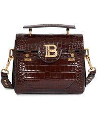 Balmain B-buzz Croc-embossed Leather Satchel - Brown