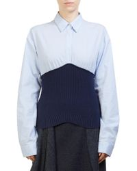 Cedric Charlier - Knit Combo Blouse - Lyst