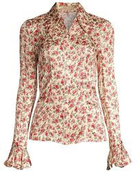 Michael Kors Floral Crushed Satin Jacquard Blouse - Pink