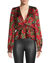 The Kooples - Long-sleeved Low Cut Top With Smocked Wa - Lyst