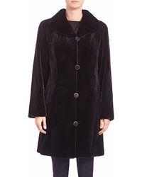Saks Fifth Avenue Reversible Sheared Mink Fur Coat - Black