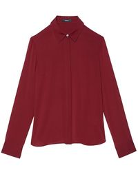 Theory Stretch-silk Shirt - Red