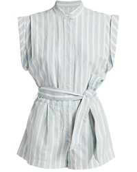 7 For All Mankind Striped Pleated Romper - Blue