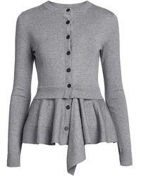 Alexander McQueen Peplum Knit Cardigan - Gray