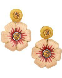 Silvia Furmanovich Marquetry 18k Rose Gold & Multi-stone Flower Earrings - Metallic