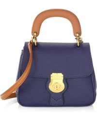 Burberry Trench Leather Top Handle Bag - Blue