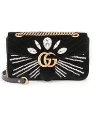 Gucci - Gg Marmont Small Velvet Shoulder Bag - Lyst