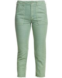 Mother The Shaker Mid-rise Chop Crop Linen-blend Jeans - Green