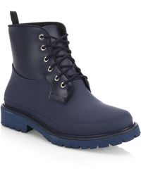 Saks Fifth Avenue Collection Rubber Combat Boots - Blue