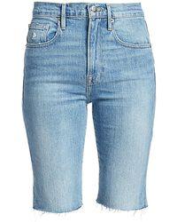 FRAME Le Vintage High-rise Raw-edge Bermuda Denim Shorts - Blue