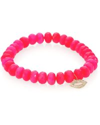 Sydney Evan - Diamond, Hot Pink Chalcedony & 14k Yellow Gold Lips Beaded Stretch Bracelet - Lyst