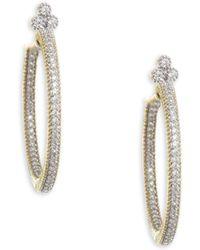 Jude Frances - Medium Provence Pavé Diamond Hoop Earrings - Lyst