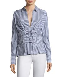 Robert Rodriguez - Lace-up Striped Shirt - Lyst