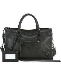 Balenciaga Mini City Snakeskin-embossed Leather Satchel - Black