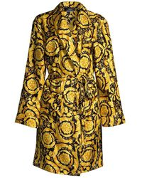 Versace Printed Silk Robe - Metallic