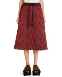 Marni - Printed Compact Jersey A-line Skirt - Lyst