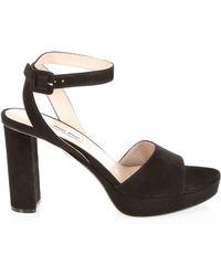 3dc290cf41b0 Lyst - Prada Leather Kilt Block-heel Sandals in Red