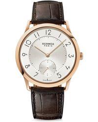Hermès | Slim D'hermes Manufacture, 18k Rose Gold & Alligator Strap Watch | Lyst