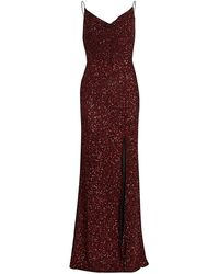 Alice + Olivia Diana Embellished Cowlneck Gown - Red