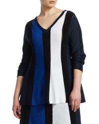Marina Rinaldi - Alburno Striped V-neck Sweater - Lyst