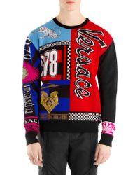 Versace - Multi Logo Wool Sweater - Lyst