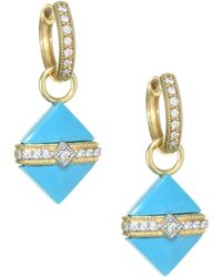 Jude Frances - Lisse 18k Yellow Gold & Diamond Wrap Square Turquoise Stone Earring Charms - Lyst