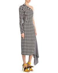Off-White c/o Virgil Abloh Houndstooth One-shoulder Dress - Yellow