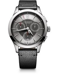 Victorinox Stainless Steel Chronograph Pebbled Leather Strap Watch - Gray