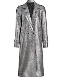 RTA Andi Metallic Trench Coat - Black