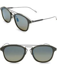 Dior Homme 52mm Round Mirrored Bridge Sunglasses - Green
