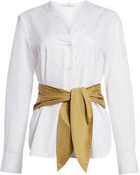 Tibi Belted Satin Poplin Shirt - White