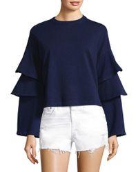 AG Jeans - Pearl Ruffle Bell-sleeve Sweatshirt - Lyst