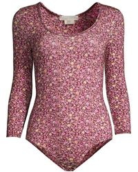 LoveShackFancy Helene Floral Bodysuit - Red
