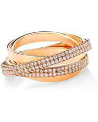 Repossi - Berbere 18k Rose Gold & Pavé Diamond Ring - Rose Gold - Size 7 - Lyst