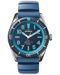 Shinola The Duck Stainless Steel Rubber-strap Watch - Blue