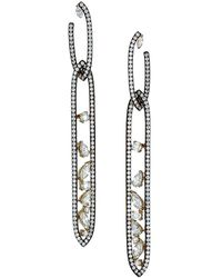 Adriana Orsini Ruthenium-plated & Cubic Zirconia Cluster Oval Double-drop Earrings - Metallic