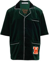 Off-White c/o Virgil Abloh Velvet Pajama Shirt - Green