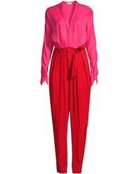 Equipment Zephrina Two-tone Long-sleeve Jumpsuit - Red