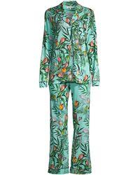Johnny Was Jungle Print 2-piece Long-sleeve Pajama Set - Green