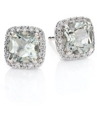 John Hardy - Classic Chain Batu Diamond, Prasiolite & Sterling Silver Stud Earrings - Lyst
