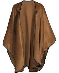 Sofia Cashmere Leather-trimmed Cape - Brown