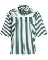 Akris Punto - Stripe Short-sleeve Boyfriend Poplin Shirt - Lyst