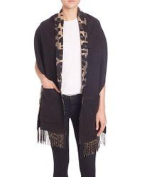 Burberry Helene Cashmere & Wool Pocket Stole - Black