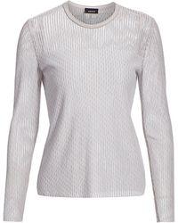 Akris Diagonal Jacquard Tweed Knit Pullover - Gray