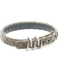 Stinghd - Silver Claw And Leather Bracelet - Lyst