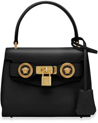 Versace Small Icon Leather Top Handle Bag - Black
