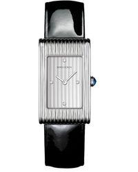 Boucheron Reflet Steel, Diamond & Patent Leather Strap Medium Watch - Black