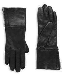 Carolina Amato Touch Tech Leather & Shearling Gloves - Black