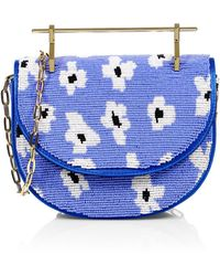 M2malletier X Pura Utz Mini Halfmoon Floral Beaded Clutch - Blue