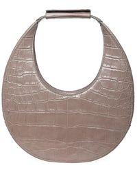 STAUD Moon Croc-embossed Leather Hobo Bag - Brown
